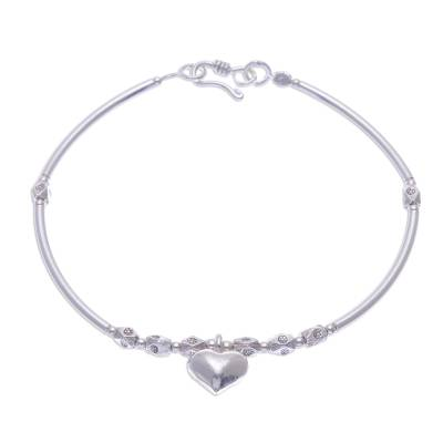 Fine Silver Heart Charm on Sterling Silver Beaded Bracelet