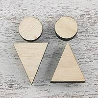 Wood restroom signs, 'Abstract Pictogram' (pair) - Set of 2 Abstract Men and Women Wood Restroom Signs