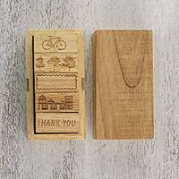 Wood stamp set, 'City Life Thanks' (set of 5) - Set of 5 City Life and Thank You Themed Wood Stamps
