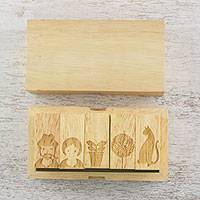Wood stamp set, 'A Slice of Home' (set of 5) - Set of 5 Home Life Themed Wood Stamps from Thailand
