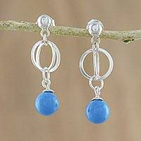 Magnesite dangle earrings, 'Oceanic Reflections' - Magnesite and Sterling Silver Beaded Dangle Earrings