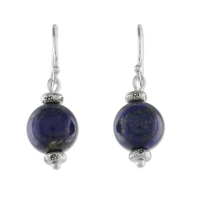 Thai Lapis Lazuli Dangle Earrings with Karen Silver Accents