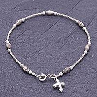 Silver beaded charm bracelet, 'Undying Faith' - Karen Silver Cross Charm Bracelet Handcrafted in Thailand