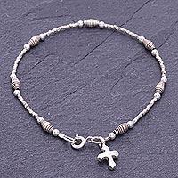 Silver beaded charm bracelet, 'Undying Faith'