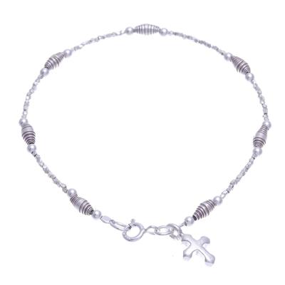 Silver beaded charm bracelet, 'Undying Faith' - Karen Silver Cross Charm Bracelet Handcrafted in Thailand