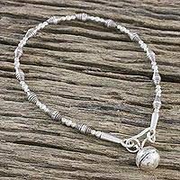 Silver beaded charm bracelet, 'Ringing Delight'