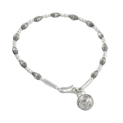 Silver beaded charm bracelet, 'Ringing Delight' - Karen Silver Bell Charm Bracelet Handcrafted in Thailand