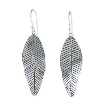 Sterling silver dangle earrings, 'Tropical Banana Leaf' - Sterling Silver Banana Leaf Dangle Earrings from Thailand