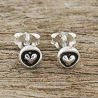 Sterling silver stud earrings, 'Little Heart'