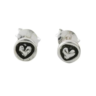 Sterling silver stud earrings, 'Little Heart' - Sterling Silver Circle Frame Petite Heart Stud Earrings