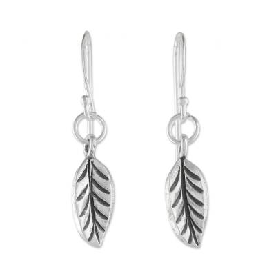 Sterling silver dangle earrings, 'Nature's Path' - Sterling Silver Leaf Dangle Earrings from Thailand