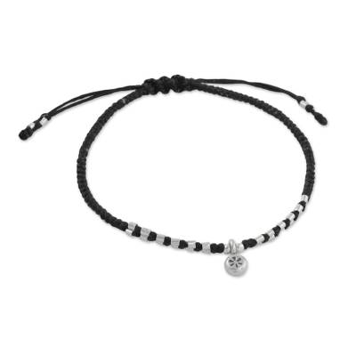 Silver beaded macrame bracelet, 'Sweet Memory' - Hand-Knotted Cord 950 Silver Macrame Flower Bracelet