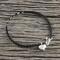 Silver macrame bracelet, 'Humble Heart' - Hand-Knotted Cord 950 Silver Macrame Heart Bracelet