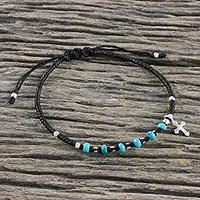 Silver beaded macrame bracelet, 'Sweet Faith' - 950 Silver Reconstituted Turquoise Macrame Cross Bracelet