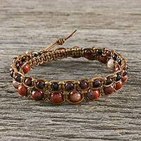Tiger's eye and jasper beaded macrame wrap bracelet, 'Wanderer' - Handmade Unisex Beaded Macrame Wrap Bracelet from Thailand