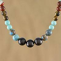Multi-gemstone beaded necklace, 'Eternal Rainbow' - Multi-Gemstone Beaded Necklace Handcrafted in Thailand