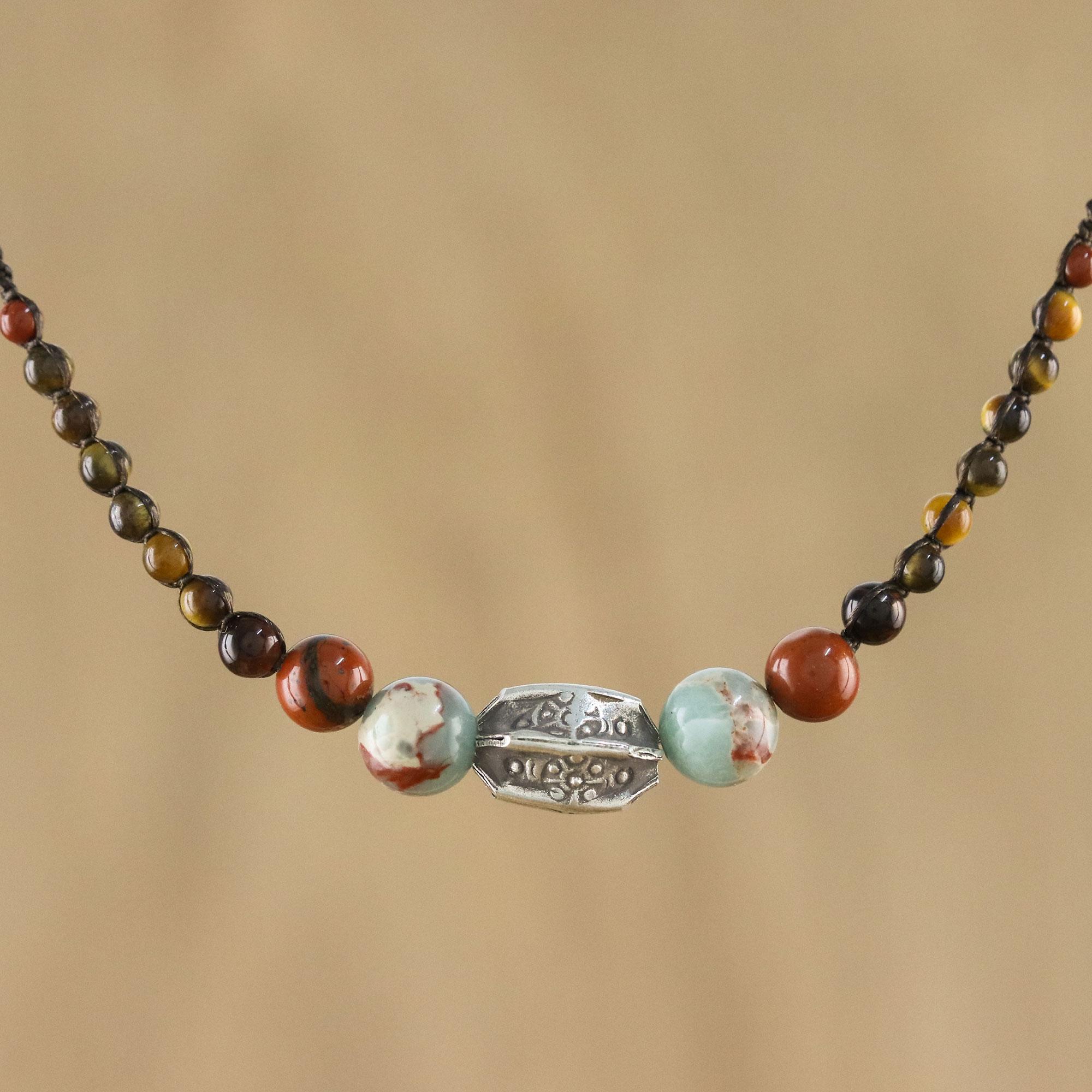 Multi-Gemstone and Karen Silver Beaded Macrame Necklace - Earthbound ...