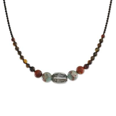 Multi-gemstone beaded macrame cord necklace, 'Earthbound' - Multi-Gemstone and Karen Silver Beaded Macrame Necklace