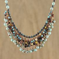 Multi-gemstone beaded waterfall necklace, 'Celebrate'