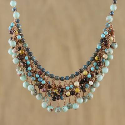 Novica Multi-gemstone beaded macrame cord necklace, Earthbound