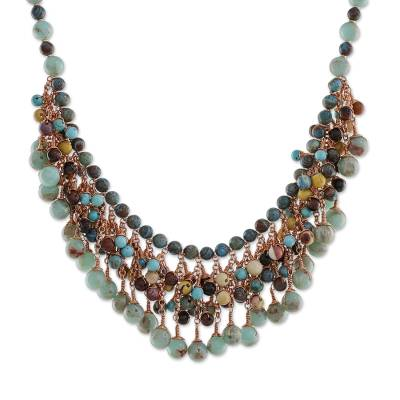 Multi-gemstone beaded waterfall necklace, 'Celebrate' - Handcrafted Multi-Gemstone Beaded Waterfall Necklace