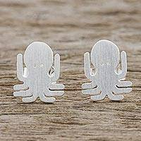 Sterling silver stud earrings, 'Little Octopus' - Sterling Silver Octopus Stud Earrings Handmade in Thailand