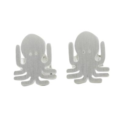 Sterling silver stud earrings, 'Little Octopus' - Sterling Silver Octopus Stud Earrings Handmade in Thailand