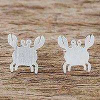 Sterling silver stud earrings, 'Little Crab'