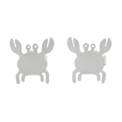 Sterling silver stud earrings, 'Little Crab' - Sterling Silver Crab Stud Earrings Handmade in Thailand