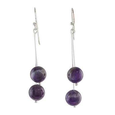 Thai Amethyst and Sterling Silver Beaded Dangle Earrings