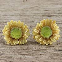 Natural flower stud earrings, 'Aster Glow' - Handmade Natural Aster Flower Stud Earrings from Thailand