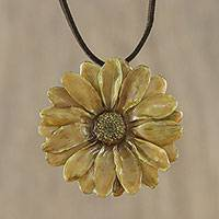 Natural flower pendant necklace, 'World of Honey' - Handmade Honey Aster Flower Pendant Necklace from Thailand