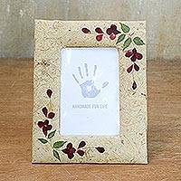 Saa paper photo frame, 'Floral Memory' (4x6) - Handmade Beige Saa Paper Dried Flower Photo Frame 4x6