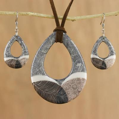 Ceramic jewelry set, 'Singing Hills' - Handmade Singing Hills Ceramic Necklace and Earring Set