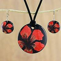 Ceramic jewelry set, 'Floral Melody' - Handmade Red Floral Ceramic Necklace and Earring Set