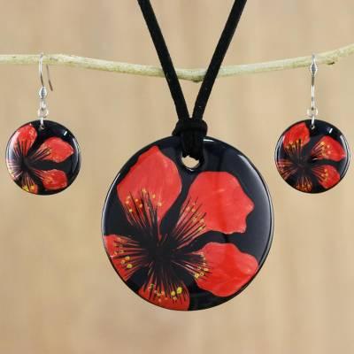 d12ca1453 Ceramic jewelry set, 'Floral Melody' - Handmade Red Floral Ceramic Necklace  and Earring