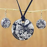 Ceramic jewelry set, 'Blue Foliage' - Handmade Blue Floral Ceramic Necklace and Earring Set