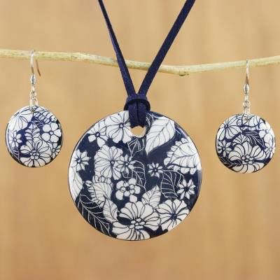 Ceramic jewelry set, Blue Foliage