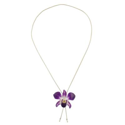 Genuine Purple Orchid Resin Pendant Necklace with Gold Chain