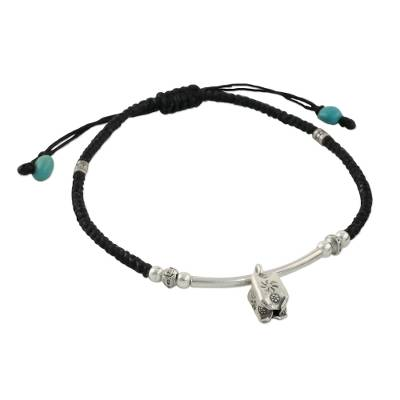 Silver beaded bracelet, 'Cool Day' - Aqua Calcite and 950 Silver Thai Hill Sliding Knot Bracelet