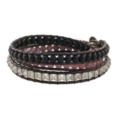 Multi-gemstone beaded wrap bracelet, 'Sunrise Wanderlust' - Unisex Leather and Multi-Gemstone Beaded Wrap Bracelet