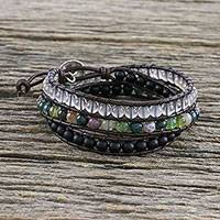 Multi-gemstone beaded wrap bracelet, 'Nature's Wanderlust' - Unisex Leather and Multi-Gemstone Beaded Wrap Bracelet