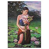 'Little Girl With Lotus I' (2017) - Signed Realist Painting of a Thai Girl with Flowers