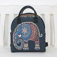 Cotton backpack, 'Northern Elephant' - Multi-Colored Thai Elephant Cotton Backpack Handbag