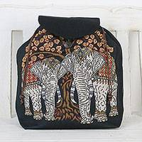 Cotton backpack, 'Elephant Tree' - Embroidered Elephant and Tree Cotton Drawstring Backpack