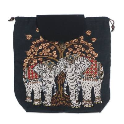 Embroidered Elephant and Tree Cotton Drawstring Backpack