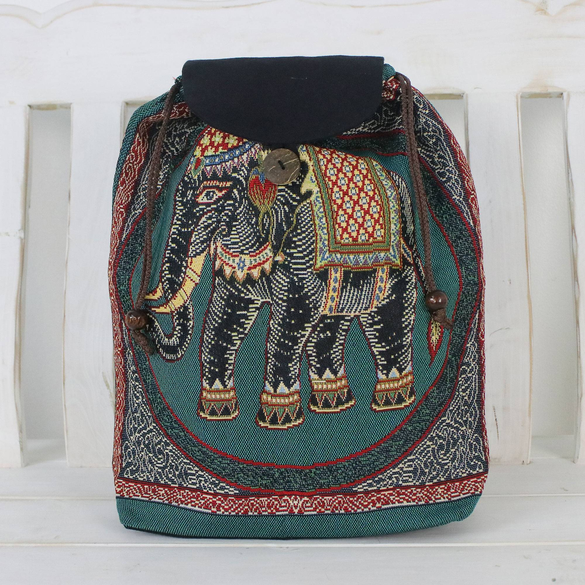 5aad77b371 Handmade Embroidered Thai Elephant Drawstring Backpack - Northern ...