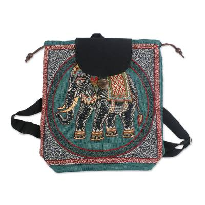 Handmade Embroidered Thai Elephant Drawstring Backpack