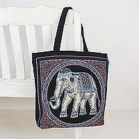 Cotton shoulder bag, 'Spring Elephant' - Embroidered Spring Thai Elephant Cotton Shoulder Handbag