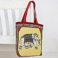 Cotton shoulder bag, 'Summer Elephant' - Embroidered Summer Thai Elephant Cotton Shoulder Handbag